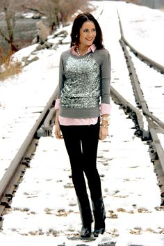 Change the boots and add a peter pan collar undershirt instead = PERFECT I already have the sequins shirt so I'm set.