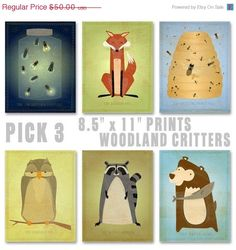 Nursery Prints  Woodland Critters by johnwgolden,