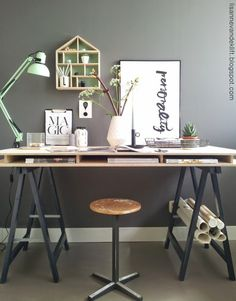 Final post in the Making Spring Cleaning Look Good series, office organisation looking at ways to keep your home office organised and inspiring. Industrial Home Offices, Industrial Interior Design, Industrial House, Industrial Bathroom, Industrial Farmhouse, Industrial Apartment, Industrial Shelving, Industrial Bookshelf, Industrial Windows