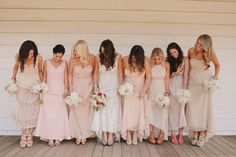 bridesmaids dresses blush and champagne