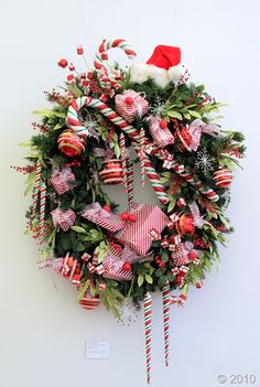 candy cane winter and christmas wreath