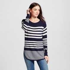 Women's Long Sleeve Striped Pullover Sweater Navy (Blue) L - Merona