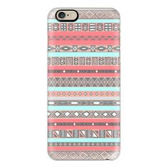 Peach Blue Aztec Tribal Native Pattern iPhone 6 case - iPhone 7 Case,... ($35) ❤ liked on Polyvore featuring accessories, tech accessories, iphone case, print iphone case, aztec pattern iphone case, tribal pattern iphone case, pattern iphone case and blue iphone case