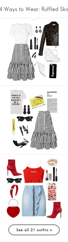 """14 Ways to Wear: Ruffled Skirts"" by polyvore-editorial ❤ liked on Polyvore featuring waystowear, ruffledskirts, Caroline Constas, The Row, Oscar de la Renta, Stuart Weitzman, Balenciaga, T By Alexander Wang, Forever 21 and Être Cécile"