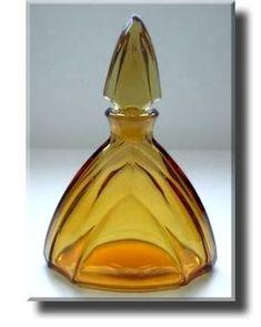 Art Deco Amber Glass Perfume Bottle - Czech - c.1930's