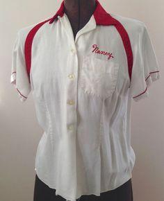 Vintage Women's 36 Bowling Shirt Nancy Rockabilly Swingster WI Johnson Bldrs #Swingster #vintage #rockabilly #halloween #bowling