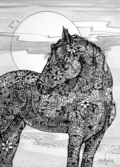HORSE OF COURSE - Original Ink Drawing Paper 5x7 Zentangle Acrylic DS Martin | eBay dianartgallery