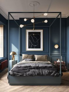 Un appartement classique chic par Cartelle Design (PLANETE DECO a homes world) – Top Trend – Decor – Life Style Modern Bedroom Furniture, Contemporary Bedroom, Furniture Design, Contemporary Classic, Grey Furniture, Country Furniture, Furniture Vintage, Furniture Sets, Blue Bedroom