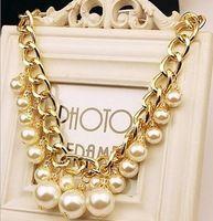 Elegante flecos hechos a mano de perlas Chunky collares moda chapado en oro gargantillas declaración Collar collares para la mujer WN021