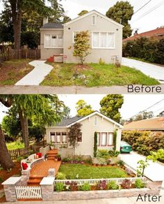 39 Budget Curb Appeal Ideas That Will Totally Change Your Home - exterior renovation Reforma Exterior, Ideas Para El Patio Frontal, Home Exterior Makeover, Exterior Remodel, Front Yard Landscaping, Front Yard Fence Ideas Curb Appeal, Inexpensive Landscaping, Small Yard Curb Appeal, Curb Appeal Landscaping