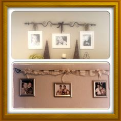 Used a pintrest idea (top) to hang pictures from a curtain rod. I added some fabric and hung over my bed!