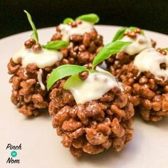 Christmas party canapés wouldn't be complete without some sweet treats, and these Low Syn Chocolate Crispy Christmas Puds fit the bill perfectly! When making these, it's important to let them set before trying to shape them or you'll end up inasticky chocolate mess…like I did the first time I made them! You can decorate these…