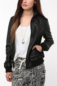 UrbanOutfitters.com > Sparkle & Fade Faux Leatherette Mock-Neck Bomber Jacket