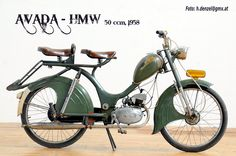 Avada - HMW 50ccm 1958 Motorcycle Posters, Motorcycle Art, Classic Motorcycle, Motorized Bicycle, Bicycle Race, Holland Bike, Moped Scooter, Vintage Cycles, Motor Scooters