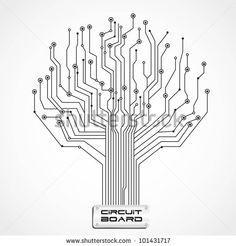 Vector Art : Circuit board tree symbol poster | Logo | Pinterest ...