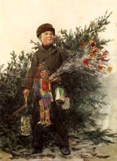 Franz Skarbina - Boy from the Berlin Christmas Market