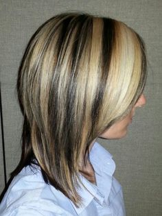 Brown hair with blonde streaks.....done at Textures Salon in Simcoe Ontario.
