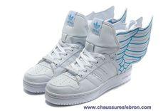 Adidas X Jeremy Scott Wings 2.0 Chaussures Blanc Bleu En Ligne