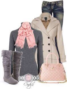 pink and grey winter outfit inspiration