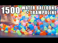Summer project with the kids: 1. Put your kids on a trampoline with a thousand or so water balloons. 2. Jump. 3. Get wet. 4. Laugh!