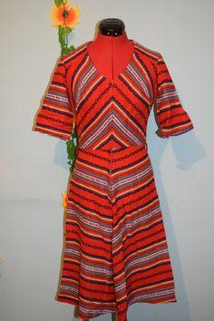 vintage 70s great pattern woven wool dress by jampops on Etsy