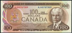 (x) Bank of Canada, $100, 1975, consecutive serial numbers AJH0707309/10, brown on multicolour, Robert Laird Borden at right, arms at left, reverse, harbour at Lunenburg, Nova Scotia