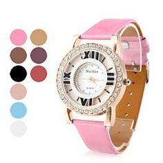 Tanboo Women's Hollow PU Leather Analog Quartz Wrist Watch with Crystals (Assorted Colors) by Tanboo. $7.99. Wrist Watches. Casual Watches Feature Hollow Engraving. Women's Watche. Gender:Women'sMovement:QuartzDisplay:AnalogStyle:Wrist WatchesType:Casual WatchesFeature:Hollow EngravingBand Material:PUBand Color:White, Gold, Purple, Pink, RedCase Diameter Approx (cm):4Case Thickness Approx (cm):0.7Band Length Approx (cm):24.5Band Width Approx (cm):1.7