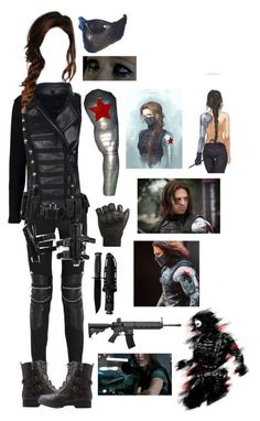 """""""The Winter Soldier - Bucky Barnes (Female)"""" by blackwidow321 ❤ liked on Polyvore featuring Sebastian Professional, Yves Saint Laurent, CamelBak, POLICE, Bamboo, Gaia, marvel, CaptainAmerica, DC and Dccomics"""