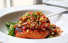 Grilled Salmon with Warm Bacon and Corn Relish – It's a Noun and a Verb. Food Wishes  Keywords: Dinner Fish