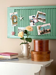 repurpose an old shutter into a photo display