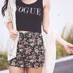 """Vogue"" Top w/ Floral Shorts - Teen Fashion - follow @Teen Fashion"