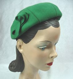 1940s vintage beret - If I could, I would have a closet full of nothing but emerald green hats.