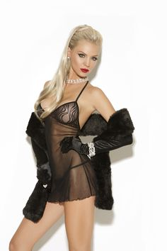Sheer babydoll with lace cups.