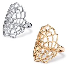 An intricate design to get everyones attention! Open work leaf petal design  ring. 0b402b930e6ad