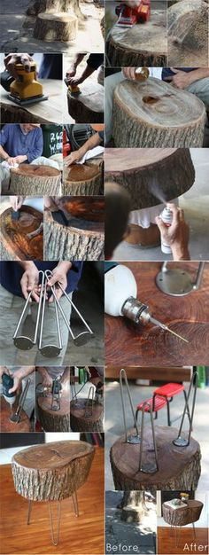 Mesita a partir de un tronco, Wood Crafts, Diy And Crafts, Creation Deco, Log Furniture, Diy Holz, Wood Slab, Wood Design, Wood Table, Woodworking Plans