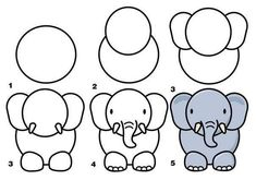 draw easy animal zoo animals drawing drawings elephant easily simple 3d paper fabartdiy