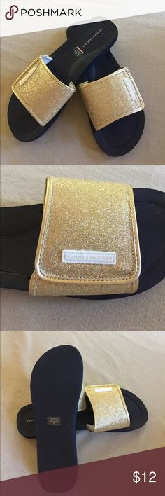 Tommy Hilfiger Slides NWOB! Tommy Hilfiger gold sparkly slides have an extra comfy layer with added arch support. Glam and comfort all-in-one. Tommy Hilfiger Shoes Sandals