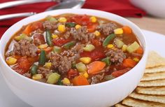 Hamburger Vegetable Soup Looks delicious though I think I would recommend draining off the burger fat before adding the water and other tasty ingredients. And perhaps adding a beef bouillon cube for a bit more flavor.