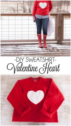 Red Hunter Boots with a DIY Valentine Heart Sweatshirt | Tutorial and Material List Included for this How To: