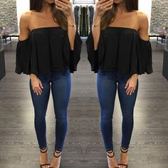 Sexy Off Shoulder Long Sleeve Chiffon Loose Blouse