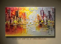 A new type of Abstract Wall Painting,contemporary wall art ,Impasto cityscape Landscape Painting,Palette Knife Painting on Canvas by Chen Texture Painting On Canvas, Palette Knife Painting, Textured Painting, City Painting, Oil Painting Abstract, Nyc Skyline, Abstract City, Art Original, Contemporary Wall Art