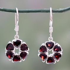Garnet flower earrings, 'Glorious' - Fair Trade Floral Sterling Silver and Garnet Earrings