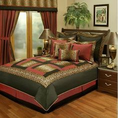 Jungle Passage Cheetah 8-piece Comforter Set Size: Queen by Sherry Kline. $163.15. JUN313955Q Size: Queen Features: -Cheetah animal print with black and red borders.-Update your bedroom decor with this luxurious comforter set. Includes: -Set includes 1 comforter, 1 bed skirt, 2 shams, 1 boudoir pillow, 1 square pillow and 2 euro shams. Options: -Available in Queen or King sizes. Color/Finish: -Color: Black, red and plush.