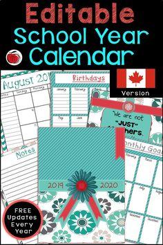 Editable Teacher Calendar - Canadian Version - FREE Updates for Life Teacher Calendar, Canadian Holidays, Birthday Charts, Teaching Resources, Teaching Ideas, Sixth Grade, Second Grade, Writing Strategies, Teacher Notebook