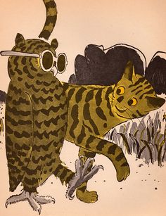 owl and tiger from 'The Owl Who Hated the Dark' written & illustrated by Earle Goodenow (1969)