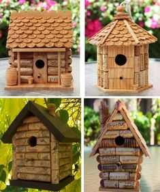 23 Clever DIY Christmas Decoration Ideas By Crafty Panda Wine Cork Art, Wine Cork Crafts, Wine Bottle Crafts, Homemade Bird Houses, Bird Houses Diy, Recycled Crafts, Diy And Crafts, Wine Cork Birdhouse, Wood Shop Projects