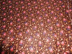 Vintage Brown Calico Floral Cotton Material 3+ Yards Pink Blue Flowers
