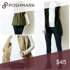 Shearling fur lined hooded vest black olive khaki Sorry, NO TRADES  Price firm unless bundled   Save money and bundle! Save 10 percent on any bundle of 2 or more items! Sofi + Sebastien  Jackets & Coats Vests