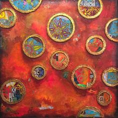 Rich, fiery hues of orange complement the sky blue and other graphics of the medallions in Gwen Lafleur's mixed media canvas. She used her Decorative Folk Flower Screen, Decorative 6-Petal Flower Screen, Ornamental Circle Cluster Screen, Ornamental Petals Mask, Ornamental Embroidery Stencil, Ornamental Compass Mask, Ornamental Compass Screen, and Ornamental Floral Screen stencils and shares a tutorial on the link below.