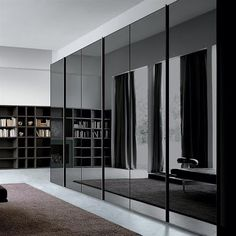 Black smoke grey glass mirror wardrobe
